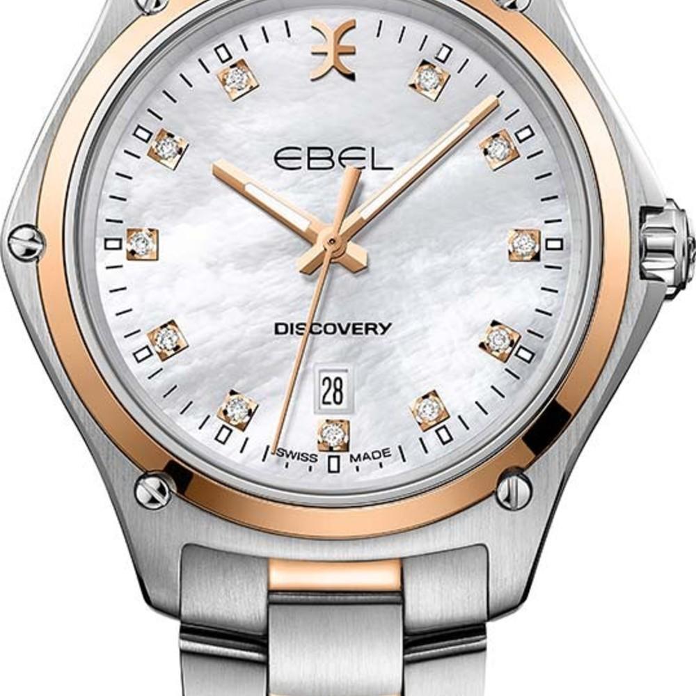 33mm Referenz Diamanten Ebel Discovery Lady Quarz Stahlrosegold yN8wOn0Pmv